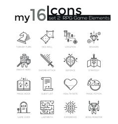 Modern thin line icons set of classic game objects vector