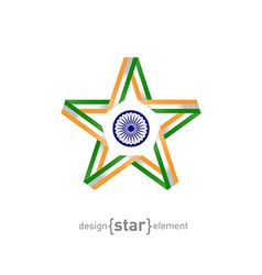 Star from ribbon with india flag colors and symbol vector