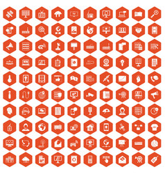 100 telecommunication icons hexagon orange vector