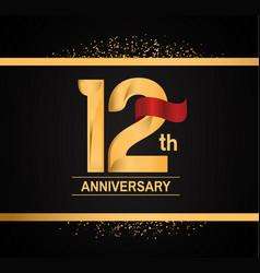 12 years anniversary logotype with premium gold vector