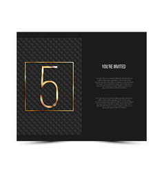 5th anniversary invitation card template vector