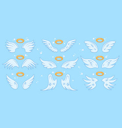 angel wings cartoon angels wing and nimbus vector image