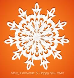 Applique snowflake Christmas card on juicy orange vector image