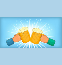 beer cheers clink horizontal banner cartoon style vector image