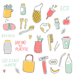 big set of hand drawn zero waste icons vector image