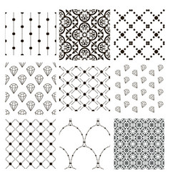 Black decorative seamless patterns set vector