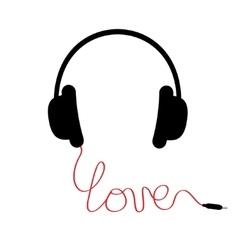 Black headphones Red cord in shape of word love vector image vector image