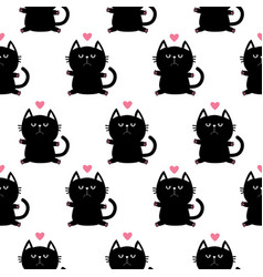 black sitting cat head with paw print and little vector image