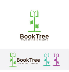 book tree logo design vector image