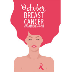 breast cancer awareness month card with young vector image
