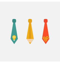 Businessman neck tie icon set light bulb pencil vector