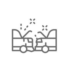 car crash accident line icon vector image