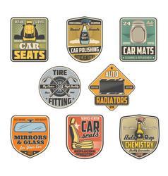 car icons salon parts shop and repair service vector image