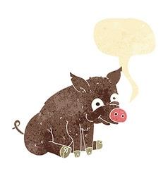 cartoon happy pig with speech bubble vector image