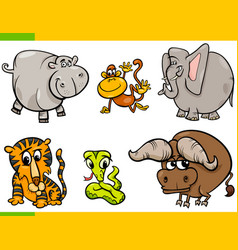 cartoon wild animals funny characters set vector image