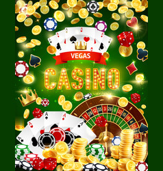 casino roulette chips dice poker cards and coins vector image