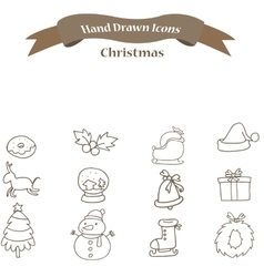 Christmas icons set with deer bell gift vector image