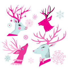 Christmas set of deer heads vector
