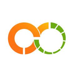 circle orange infinity datas logo vector image