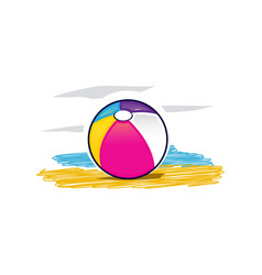 Colorful beach ball icon vector