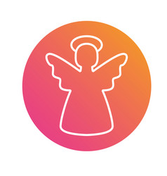 Colorful gradient christmas angel flat icon vector