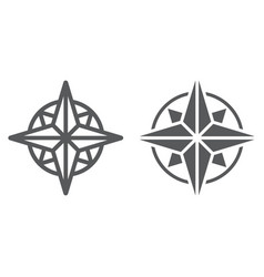 compass line and glyph icon navigator vector image