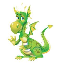 Cute green dragon cartoon isolated on white vector