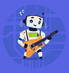 cute robot playing guitar modern artificial vector image