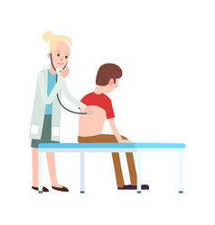 Doctor visit in clinic icon vector