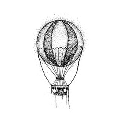 dotwork hot air balloon vector image