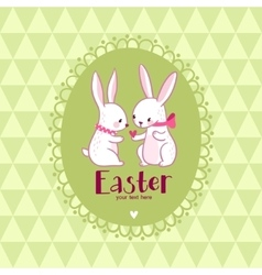 Easter card with love rabbits vector image