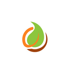 eco round leaf bio logo vector image