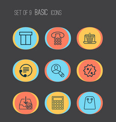 Ecommerce icons set with rebate sign calculator vector