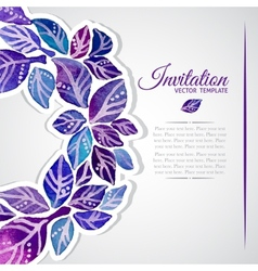 Elegant invitation template with watercolor wreath vector image