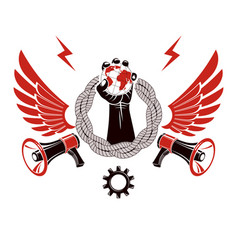 Emblem composed with revolutionary clenched fist vector