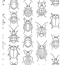 embroidery bugs seamless pattern on white vector image