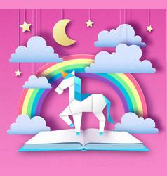 fantasy animal horse unicorn with rainbow vector image