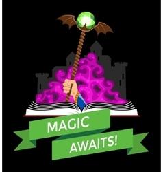 Fantasy Book with Magic Staff vector
