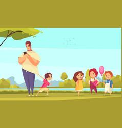 father on walk carton vector image