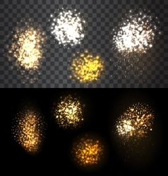Festive set firework bursting various shapes vector image