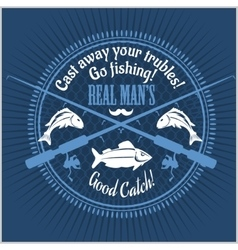 Fishing emblem badge and design elements vector image vector image