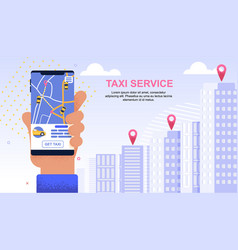 flat banner taxi service urban modern application vector image