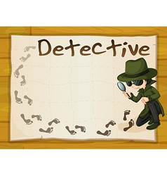 Frame design with detective and footprints vector