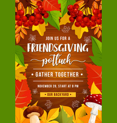 Friendsgiving potluck party autumn leaves vector