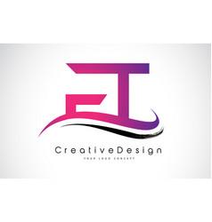 Ft f t letter logo design creative icon modern vector