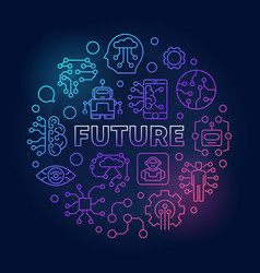 Future round colored in thin vector