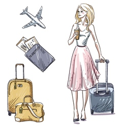 Girl walking with a luggage bag vector image