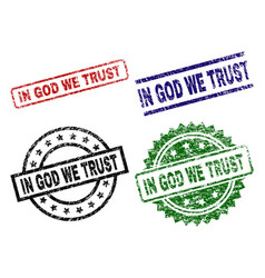 grunge textured in god we trust seal stamps vector image