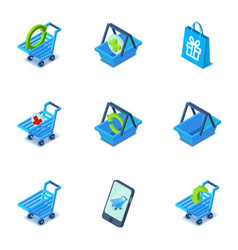Handcart icons set isometric style vector