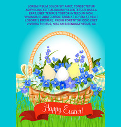 Happy easter eggs basket greeting poster vector